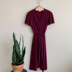 VTG 70's Wine Fit & Flare Draped Party Dress